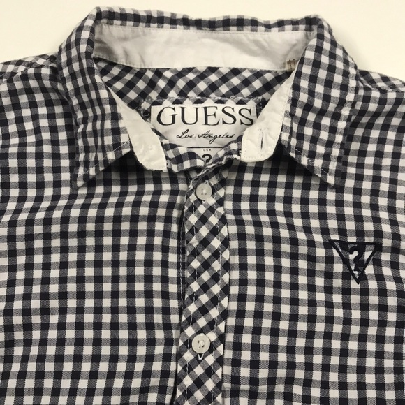 BLOUSE by Guess button-down CHECKED Guess long sleeve MEDIUM Womens Cotton Red Navy White